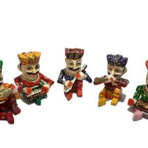Rajasthani Art Style Musicians (Set of 5)