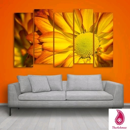 Multiple Frames Yellow Floral Wall Painting