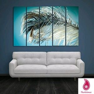 Multiple Frames Feather Floral Wall Painting