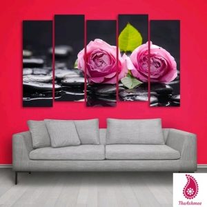 Multiple Frames Pink Floral Wall Painting