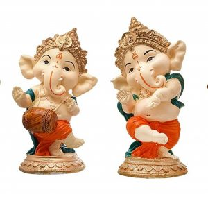 Polyresin Dancing Musical Lord Ganesha Idol Showpiece for Home Decor