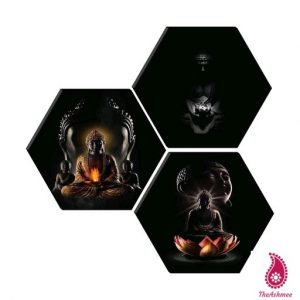 Set of 3 Hexagon Buddha MDF Board UV Textured Painting