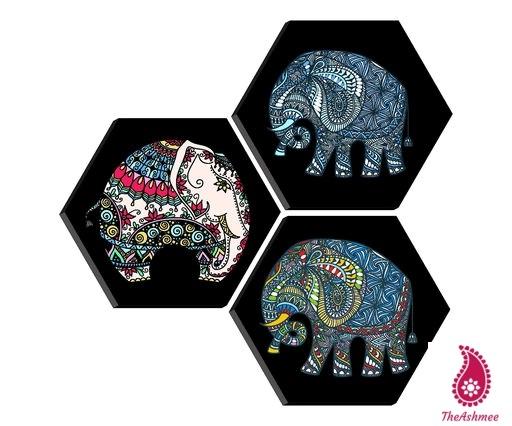 Set of 3 Hexagon elephant MDF Board UV Textured Painting
