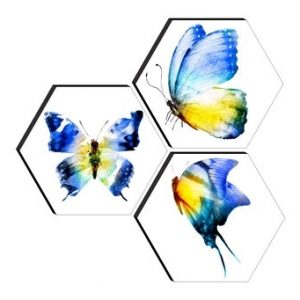 Set of 3 Hexagon butterfly MDF Board UV Textured Painting